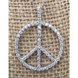 Cubic Zirconia Peace Sign Sterling Silver Necklace
