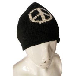 Beanie - Black Knit Peace Sign Beanie