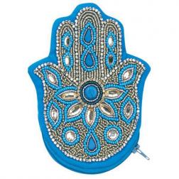 Hamsa Beaded Coin Purse-Turquoise