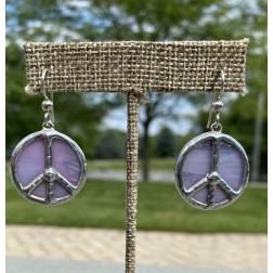 Tiffany Glass Artisan Peace Sign Earrings - Pink