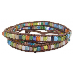 "Bracelet - 26"" Brown Leather and Multi Square Wrap Bracelet"