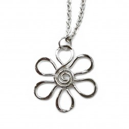 Necklace - Silver Daisy Swirl