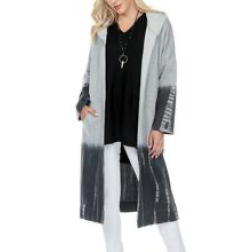 Cardigan -Long Hooded Cardigan Ombre Tie Dye