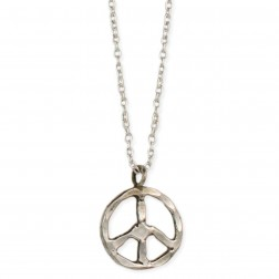 Hammered Peace Sign Necklace - Silver