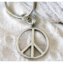 Keychain - Pewter Classic Peace Sign Keychain