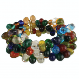 Bracelet - Rainbow Drops 3 Line Stretch Bracelet