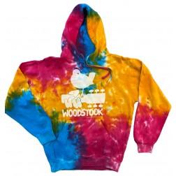 Sweatshirt: Woodstock bird on guitar Multi Rainbow tie dye