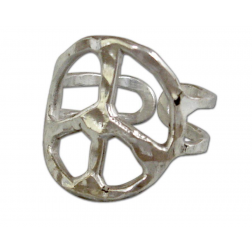 Ring- Custom made Hammered metal peace sign ring