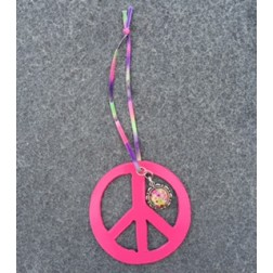 Groovy Hand Painted Peace Sign Car Charm Pink