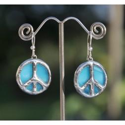 Tiffany Peace Sign Artisan Earrings-Sky Blue