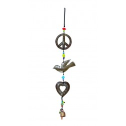 Peace Dove Heart Wind Chime