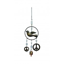 Metal Dove with 2 dangling Peace Sign Wind Chime