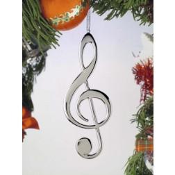 Silver Treble Clef Ornament