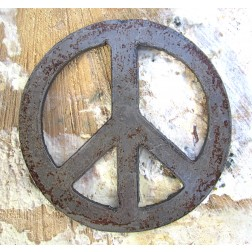Rusted Metal Peace Sign Artisan Magnet