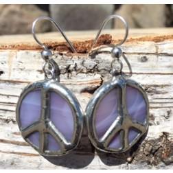 Tiffany Peace Sign Artisan Earrings-Purple