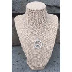 Silver Swarovski Crystal Peace Sign Necklace