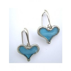 Tiffany Heart Artisan Earrings - Light Blue
