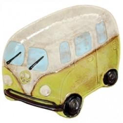 Ceramic Peace Van Plate in Green