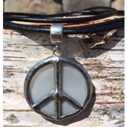 Tiffany Peace Sign Artisan Necklace-White