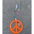 Groovy Hand Painted Peace Sign Car Charm Orange