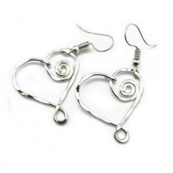 Earrings - Swirly Heart Silver Earrings